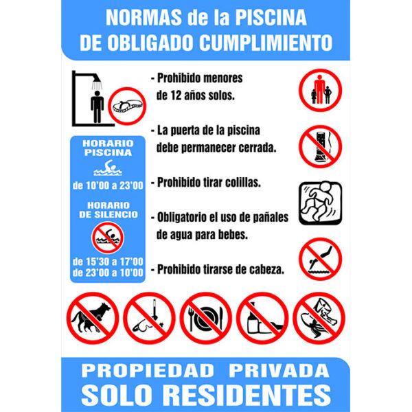 Cartel normas piscinas 100 70 cms bo iii generaci n for Normas de piscina
